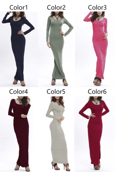 Women's Slim Fit Long Sleeve Scoop Neck Casual Backless Dresses