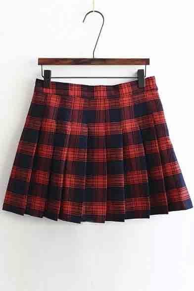 9262424b7ba9 Women's Sweet Preppy Style Plaid A-Line Pleated Mini Skirt -  Beautifulhalo.com