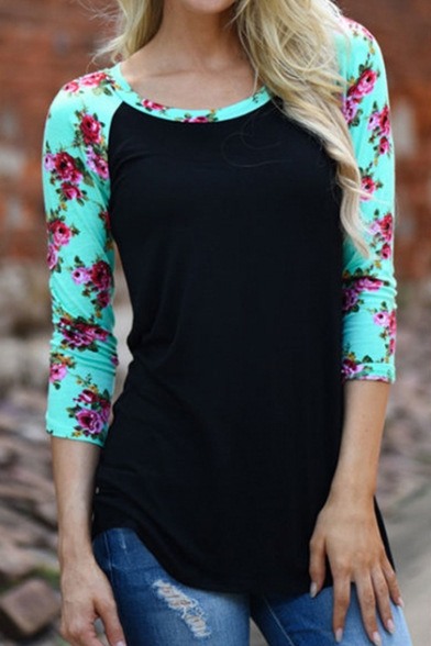 New Stylish Contrast Floral Printed Raglan 3/4 Length Sleeve T-Shirt