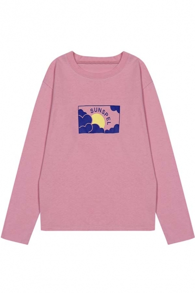 Sunset Print Long Sleeve Round Neck Women's Pullover Sweatshirt