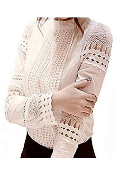 Women Hollow Out Back Zipper Lace Long Sleeve Elagent Blouse
