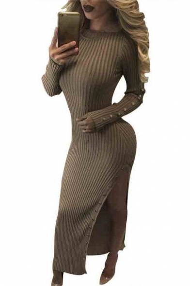 83dd60830ddc Women s Long Sleeve Round Neck Fashion Split Side Knit Maxi Bodycon Dress