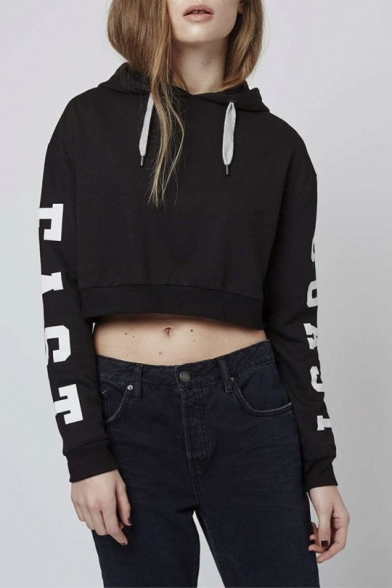 002d00c42f019 Women s Loose Letter Printed Long Sleeve Crop Top Hoodie - Beautifulhalo.com