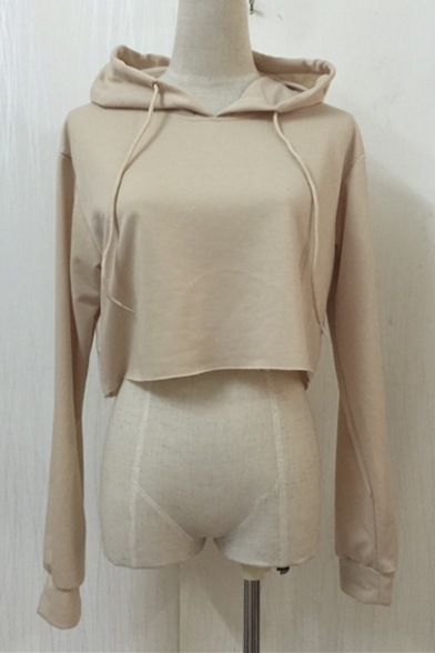 Hoodie Long Loose Sleeve Plain Women's Crop Top nWzYvq