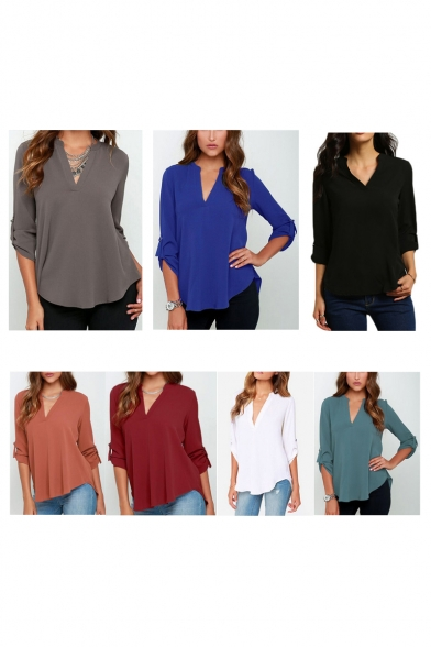 Women's Summer Blouses V Neck Cuffed Sleeve Blouse Shirts Tops