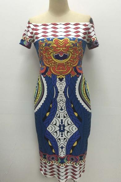 Women Sexy Traditional African Print Dashiki Bodycon Sexy Short Sleeve Dress