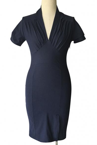 Fashion Elegant V-Neck Plain Short Sleeve Midi Pencil Dress