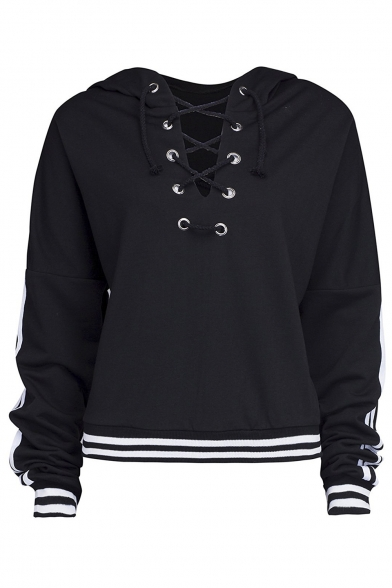 ... Fashion Lace-Up Front Women s Hooded Striped Print Crop Hoodie ... 989e13b58