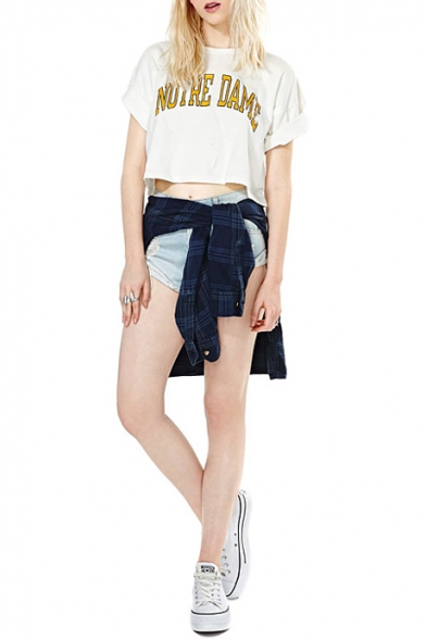 577a8b988d8f1c ... Fashion NOTRE DAME Letter Printed Short Sleeve Round Neck Cropped Tee