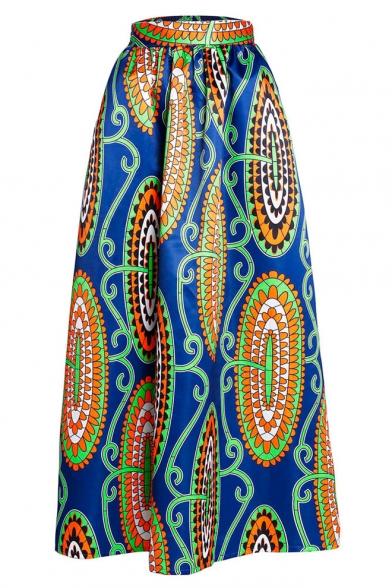 s print high waist pleated maxi skirt