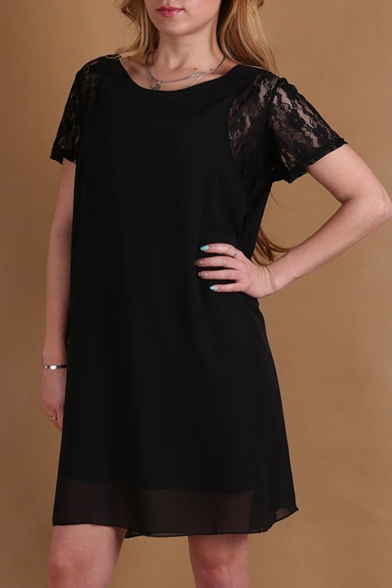 Women's Fashion Lace Short Sleeve Buttons Back Chiffon Midi Dress