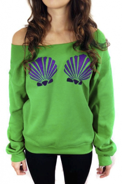 Women's Long Sleeve Chic Mermaid Shells Slouchy Pullover ...