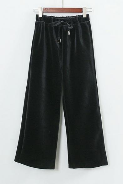 Chic Drawstring High Waist Plain Wide Leg Pants