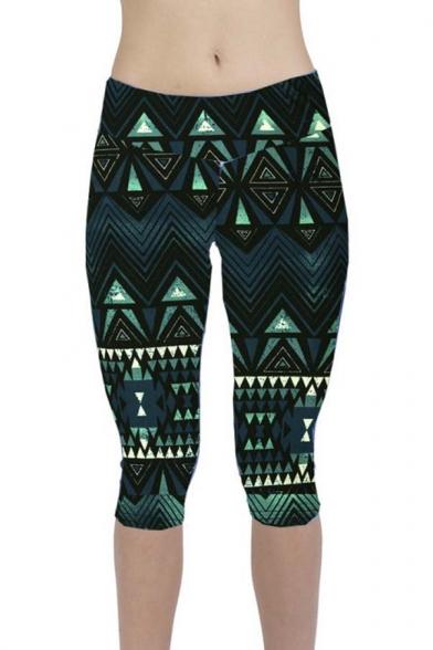 Performance Activewear - Printed Yoga Capri Work-out Leggings