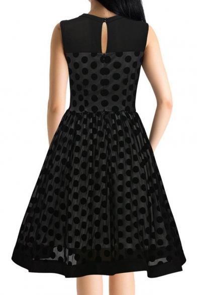 Retro Style Polka Dot Chiffon Panel Sleeveless Mesh Midi Fit & Flare Dress
