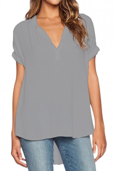 Women Chiffon Blouse V Neck Short Sleeve Top Shirts