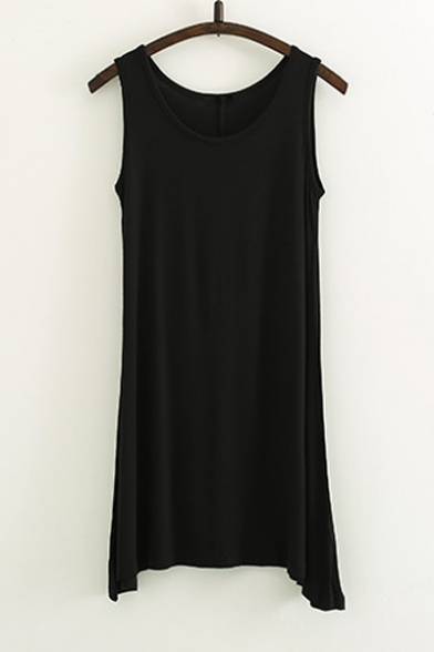 Women\'s Basic Loose-fit T-shirt Plain Tank Dress - Beautifulhalo.com
