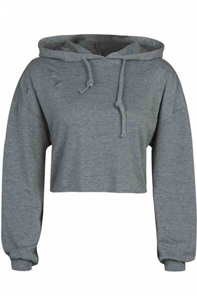 Crop Women's Plain Hoodie Long Sleeve Top Loose fwqUInpqR0