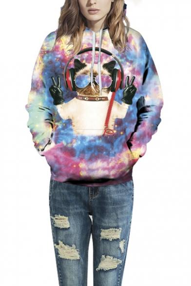 Unisex Simulation Printing Cartoon Pocket Hooded Sweatshirt