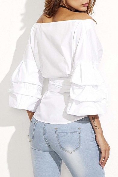Women's Bow Waist-tie Ruffle Bell Sleeve Sweet Blouse Top