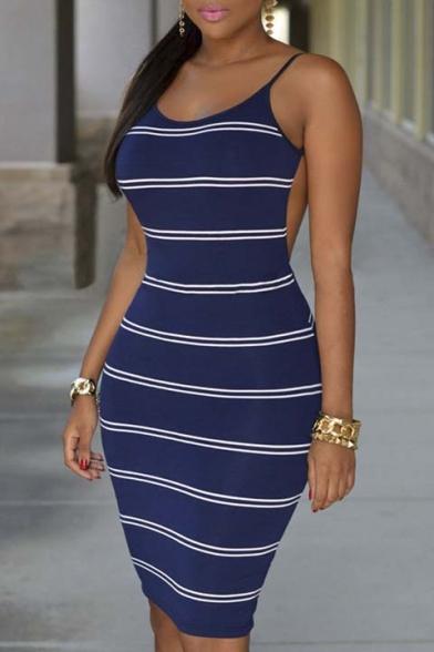 Women s Spaghetti Strap Stripes Open Back Bodycon Dress - Beautifulhalo.com bea56f764