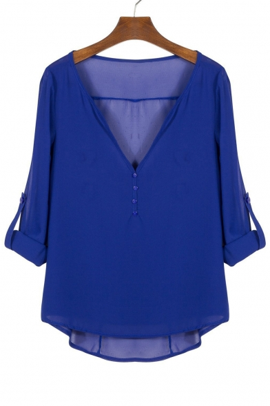 Women's V-Neck Button Detail Dip Back Solid Blouse Top