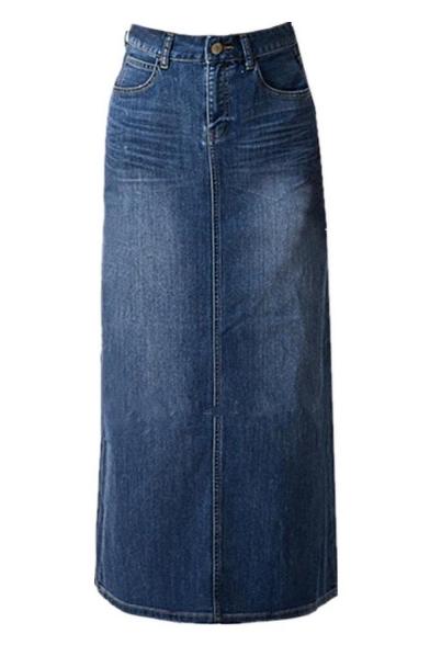 Womens Blue Stretch Back Split Long Pencil A Line Maxi Jean Denim Skirt