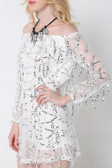 Dress Detail Sequined A Long Off Sleeve Line Shoulder Mini the q7xUxwzH