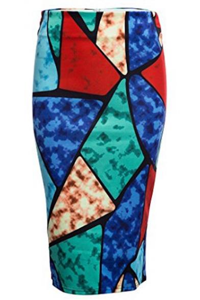 Women Print Midi Pencil Skirt for Office Wear
