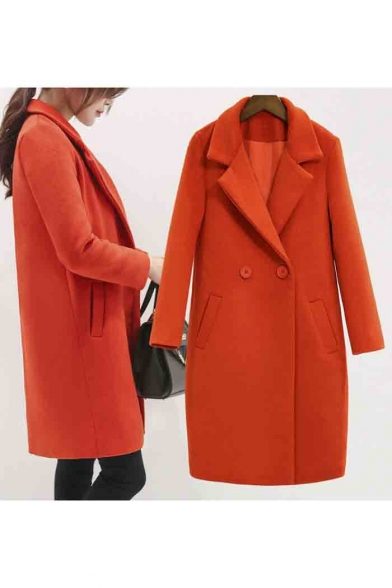 Women's Coat Collar Double Lapel Longline Fashion Wool Breasted qqPTwrC