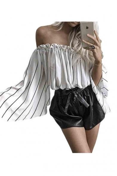 b457272fcc22d Women s Ruffled Bell Sleeve Shirt Stripless Blouse Off Shoulder Tops -  Beautifulhalo.com