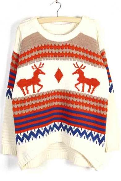 Loose Oversize Deer Print Color Block Women's Round Neck Sweater