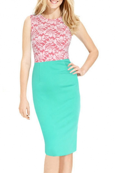 Women's Fashion Color Block Sleeveless Round Neck Midi Pencil Dress