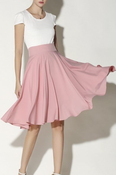 Women's Fashion High Rise Solid Color Midi A-Line Pleated Skirt