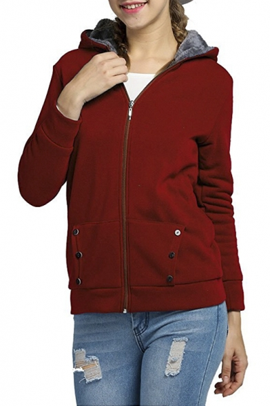 ... Women s Winter Thicken Zip Up Fleece Lined Hoodie Jacket Outerwear Coat  ... 0bcb898fdd