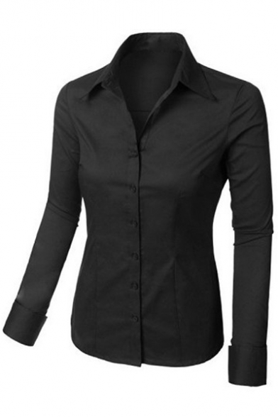 Womens tailored long sleeve button down shirt with stretch for Womens stretch button down shirt