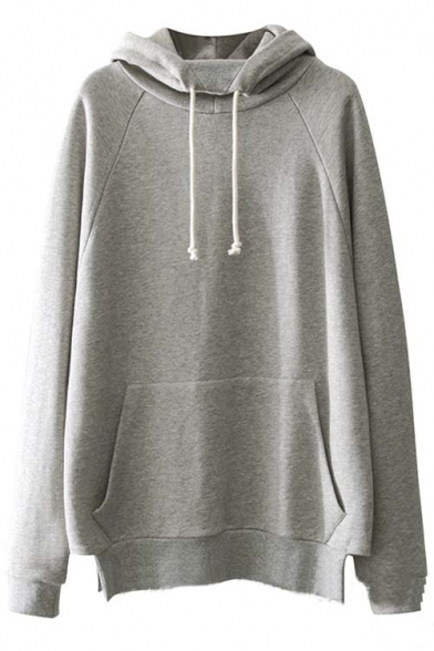 2016 New Hooded Raglan Long Sleeve Plain Tunic Hoodie with One Kangaroo Pocket