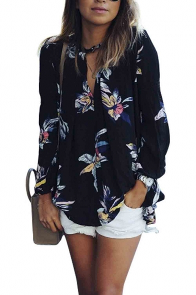 Women Casual See Through Floral Print Long Sleeve Chiffon Shirt Blouse Tops