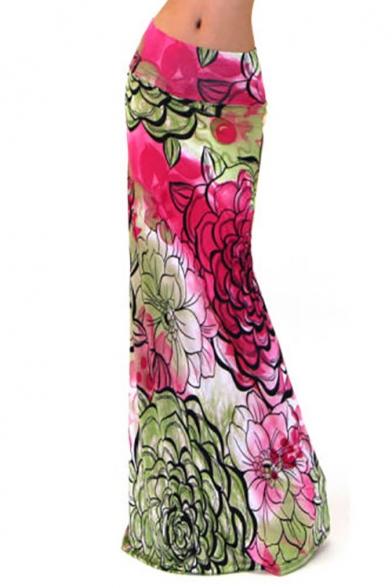 Women Fashion Floral Print High Waisted Beach Maxi Skirts