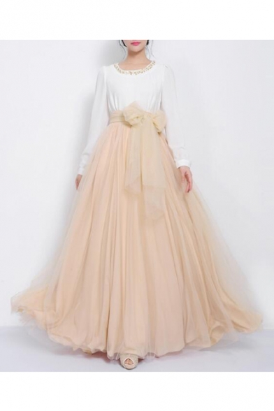 Women's Gauze High Rise Bow Front A-Line Flared Maxi Skirt ...