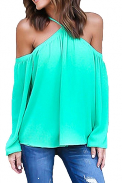 8d589894027be9 Women's Spaghetti Halter Off The Shoulder Blouse Long Sleeve Shirt Tops