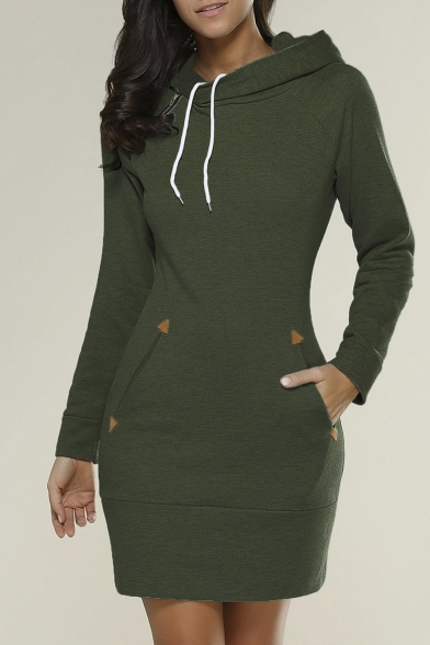 Fashion Hooded Long Sleeve Plain Mini Sweatshirt Dress