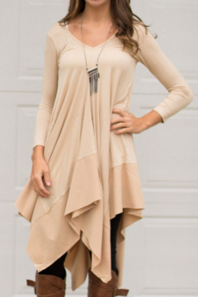 Sexy V-Neck 3/4 Length Sleeve Plain Asymmetric Dress