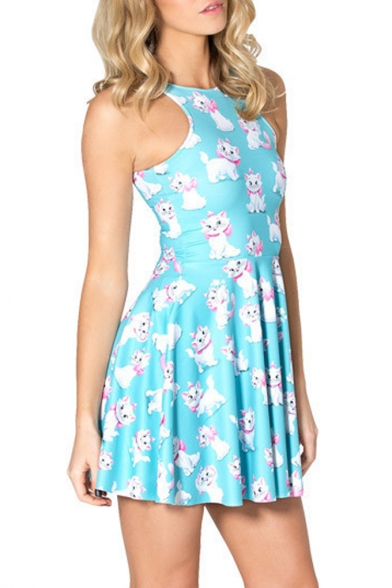 Summer Pleated Print Digital Cat Reversible Skater Dress