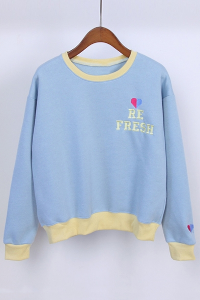 Women's Contrast Trim Embroidery Letter and Heart Pullover Sweatshirt