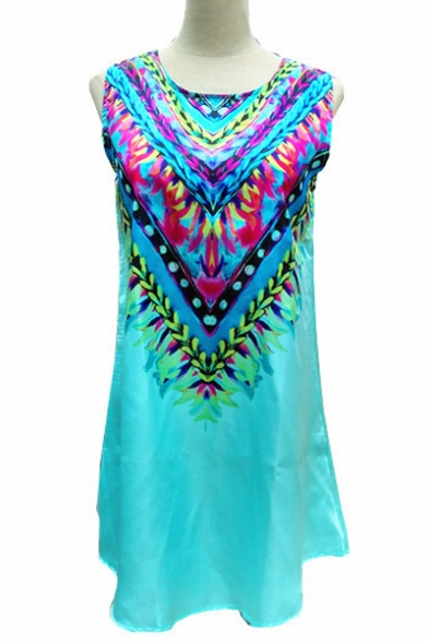 Women's Tribal Printed Sleeveless Color Block Mini Swing Dress