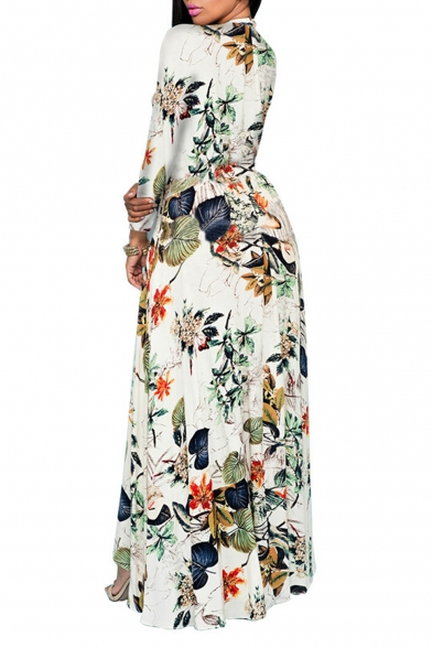 21f124085a1 ... Women s V Neck Floral Chiffon Maxi Dress Overlay Rompers Jumpsuit  Playsuit