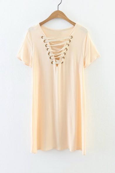 Fashion Sexy V-Neck Perforated Tied Front Short Sleeve Plain Mini T-Shirt Dress