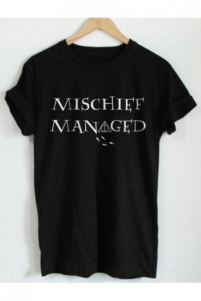 MISCHIFF MAN GED Letter Printed Short Sleeve Round Neck Tee Top