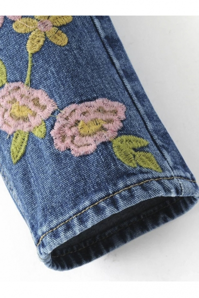 New Contrast Embroidery Floral Pattern Mid Waist Skinny Jeans